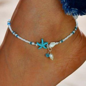 Boho Pearl Starfish Shell Bead Charm Anklets Ankle